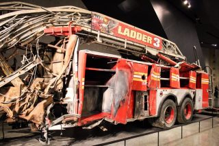 September 11 memorial museum fire engine in New York City