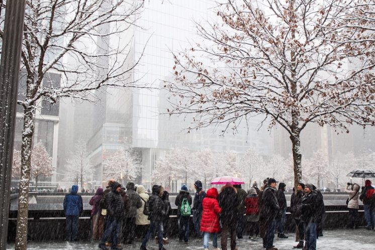 Snow outside the September 11 memorial museum in New York City