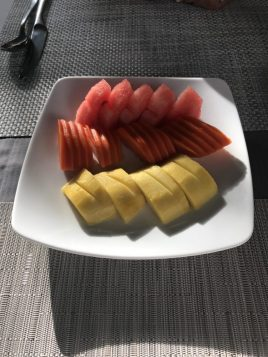 Watermelon, papaya, and mango