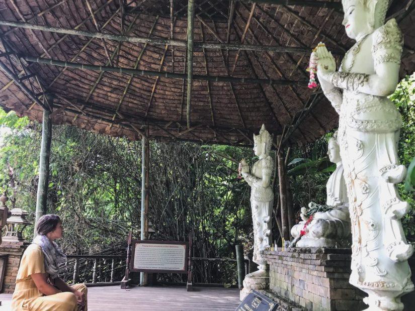 Sitting in a meditation area at Wat Pha Lat Chiang Mai