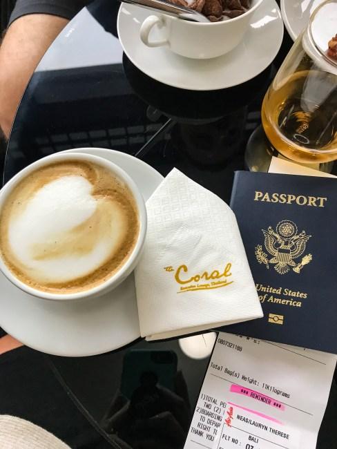 Latte at Coral lounge don mueang airport bangkok thailand