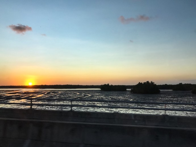 Sunset while driving to Ubud, Bali Indonesia