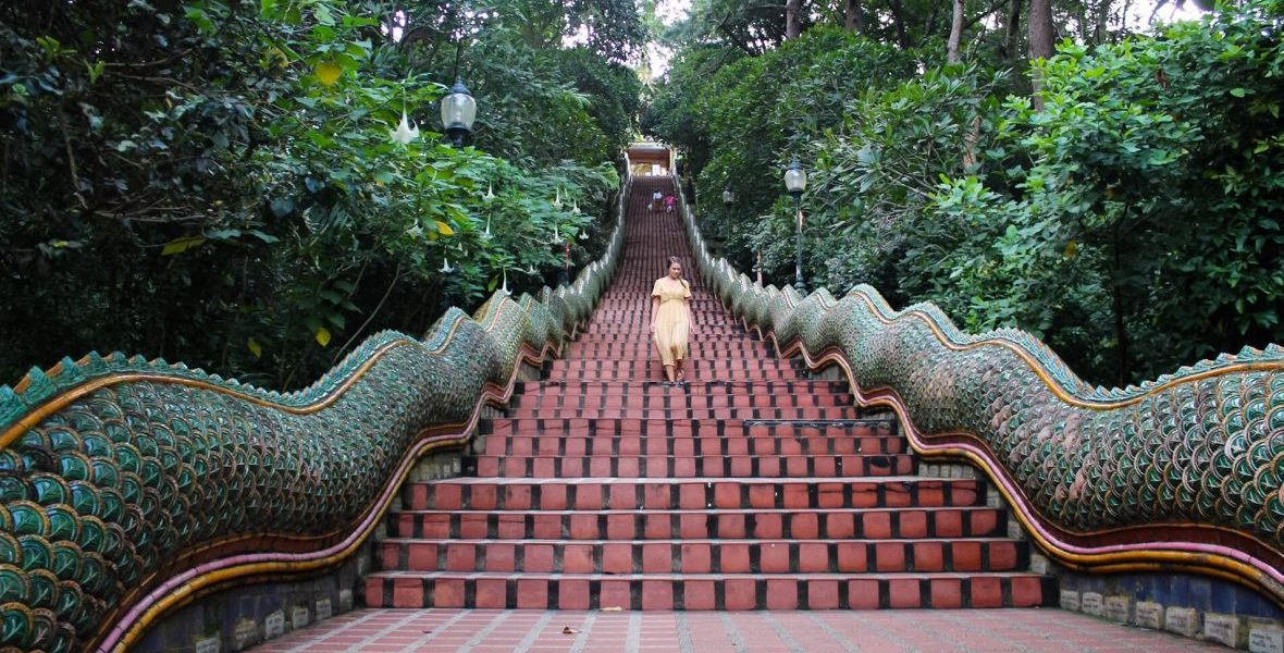 Walking the Naga Staircase at Wat Phra That Doi Suthep