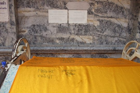 Orange tapestry at Wat Phra That Doi Suthep Chiang Mai