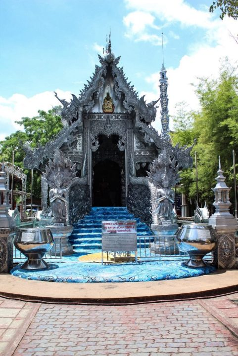 Details of the outside of Sign outside Wat Sri Supan the silver temple in Chiang Mai Thailand