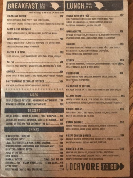menu Food at Locavore to-go ubud bali