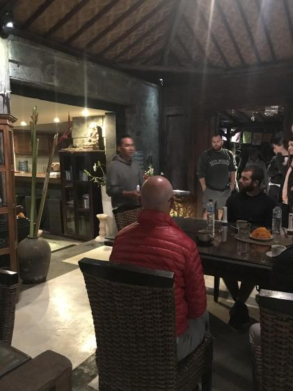 The owner of Bali Sunrise Trekking and Tours explaining how our hike would go