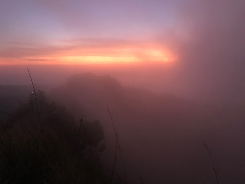 Cloud cover at the top of Mount Batur