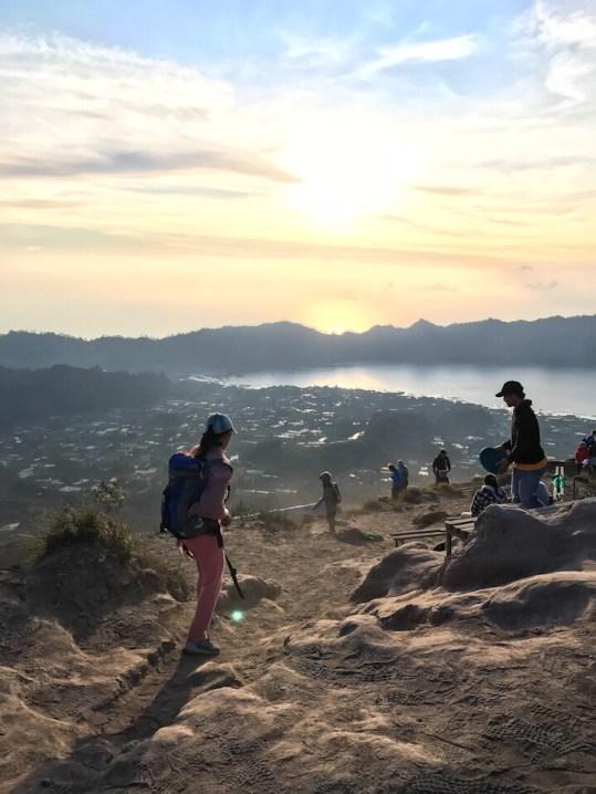 Starting the hike down Mount Batur