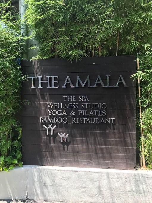 The Amala resort sign in Seminyak Bali