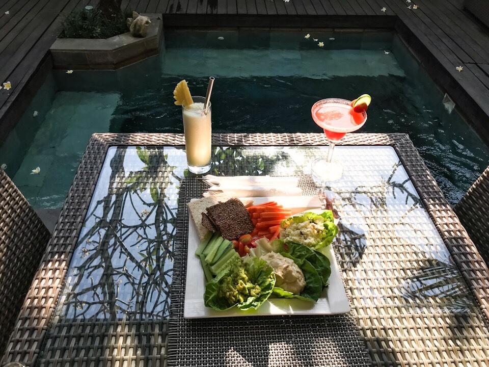 Snacks by the pool at The Amala resort Seminyak Bali