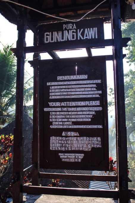 Sign explaining rules at Pura Gunung Kawi Ubud, Bali