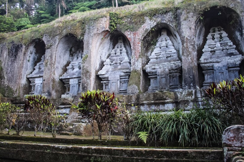 Rock face carvings at Gunung Kawi Ubud Bali