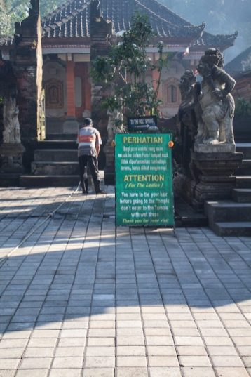 sign at Tirtal Empul Holy Springs Temple Ubud Bali