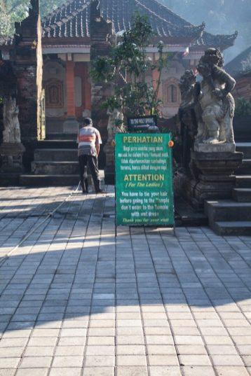 sign at Tirtal Empul Holy Springs Temple Ubud Bali