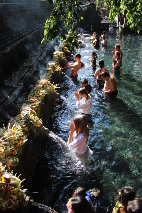 Pilgrims bathing in Holy Springs Tirta Empul Ubud Bali