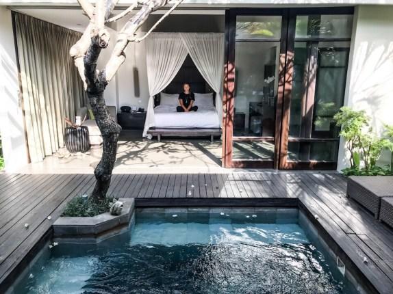 Sitting in the spa villa at The Amala, Seminyak, Bali