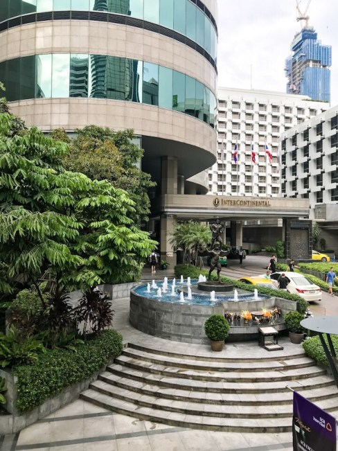 The outside of the Intercontinental Hotel in Bangkok