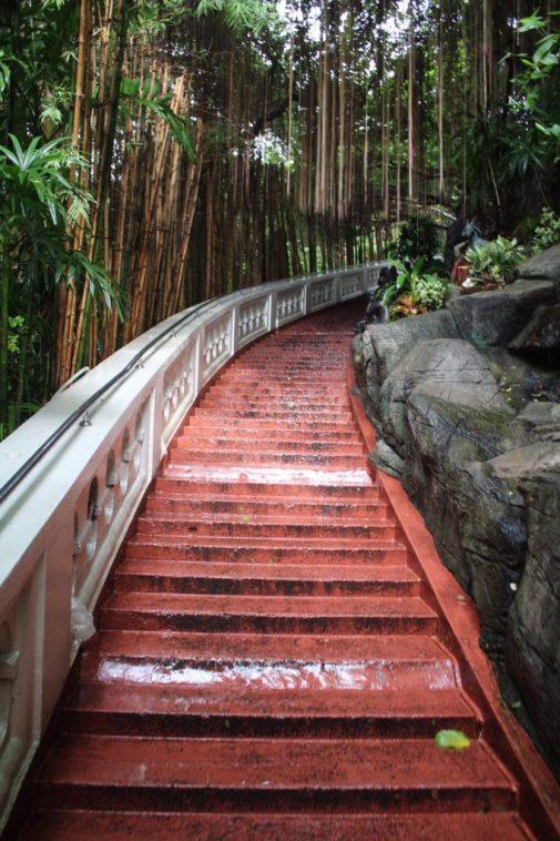 Stairs going up to the top of Wat Saket in Bangkok