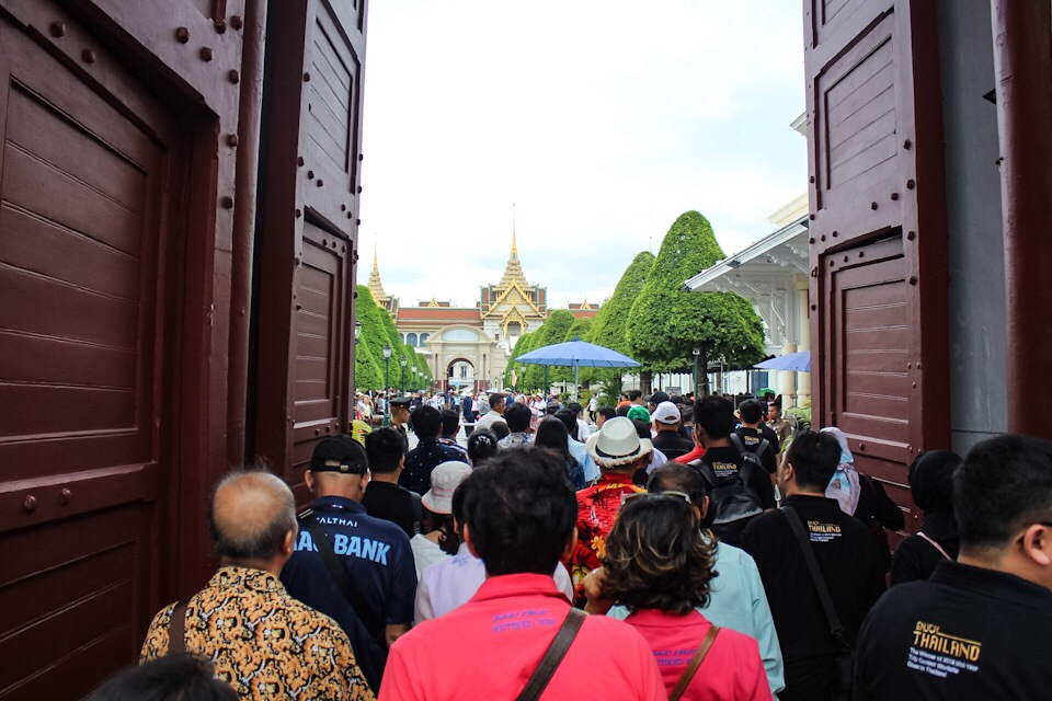 Entering the Grand Palace in Bangkok, Thailand
