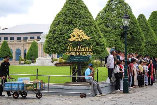 Entering the Grand Palace in Bangkok, Thailand