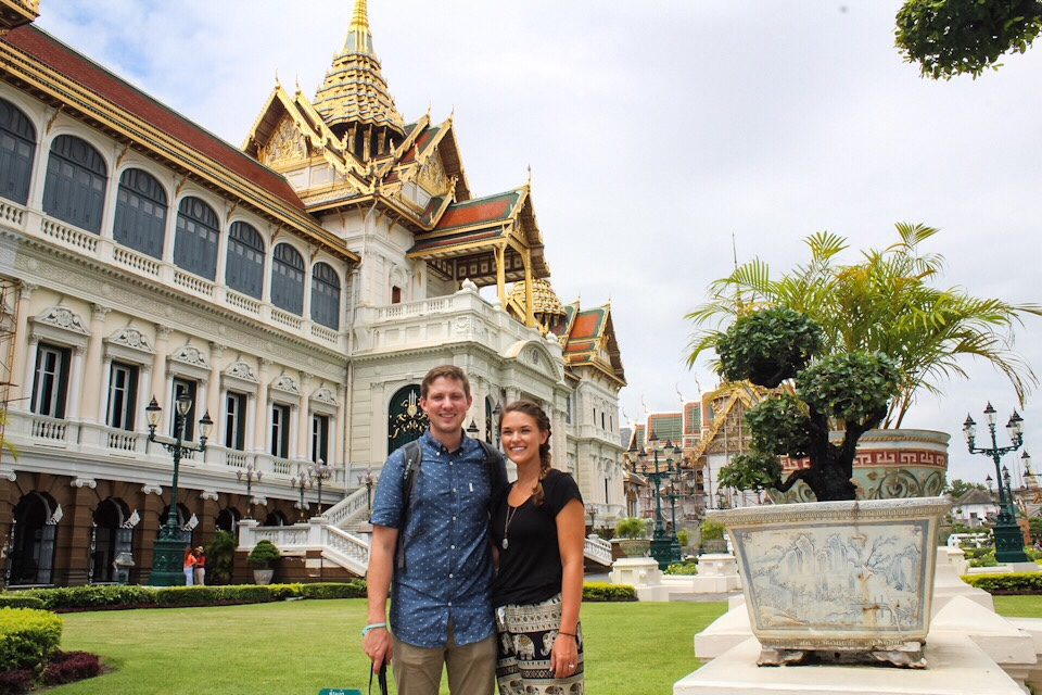 Standing in front of the Grand Palace in Bangkok Thailand