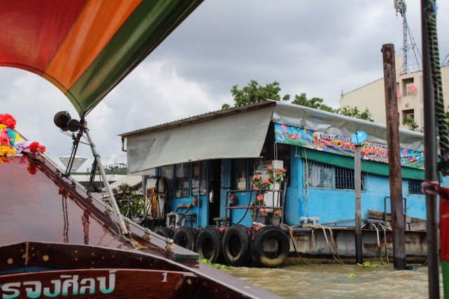 Petrol station for boats on the river in Bangkok