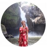 Lauryn in front of Tegenungan waterfall in Ubud Bali