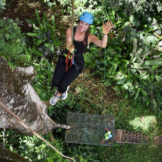 Lauryn rappelling at El Santuario in Manuel Antonio Costa Rica