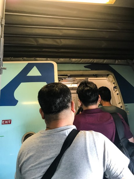 Boarding the Korean Air jet to travel from Bangkok to Seoul