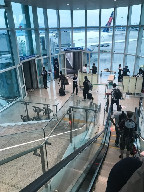 Security screening at our gate at the Incheon Airport