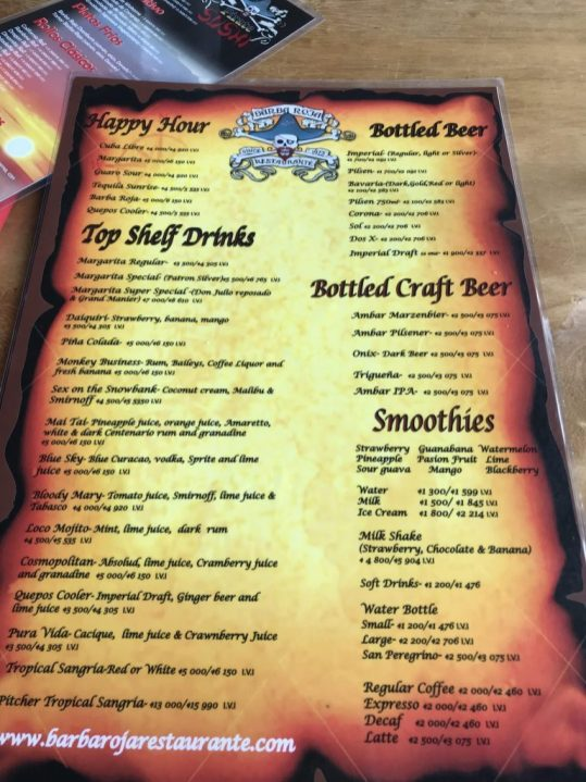 Menu at Barba Roja during happy hour in Manuel Antonio Costa Rica