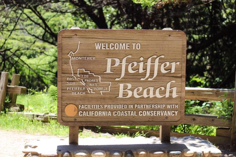 Sign for Pfeiffer Beach in California