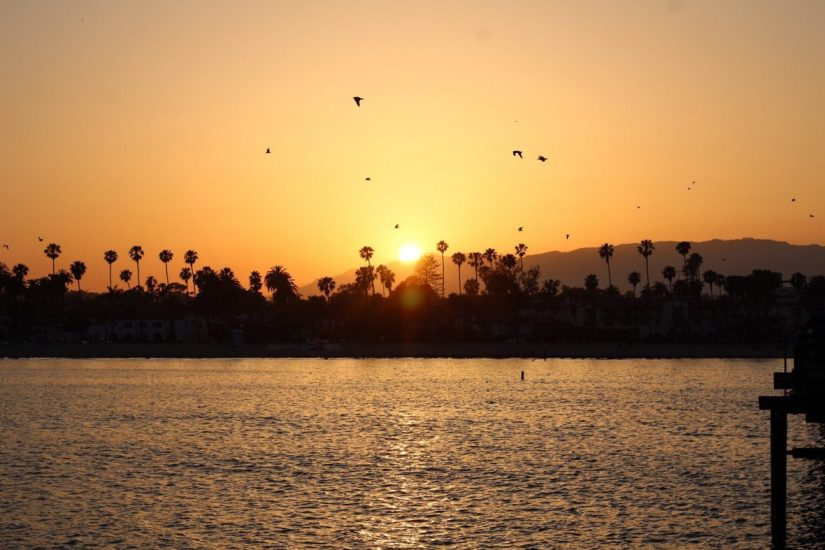 Sunset on the wharf in Santa Barbara California