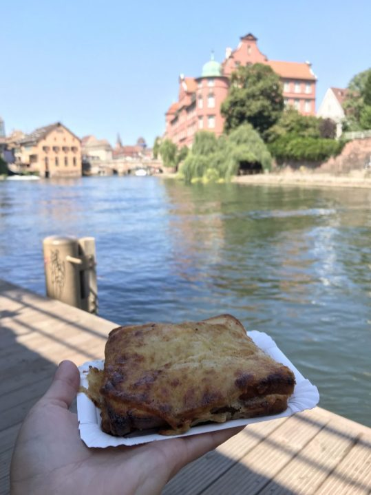 Eating lunch on the river in Strasbourg