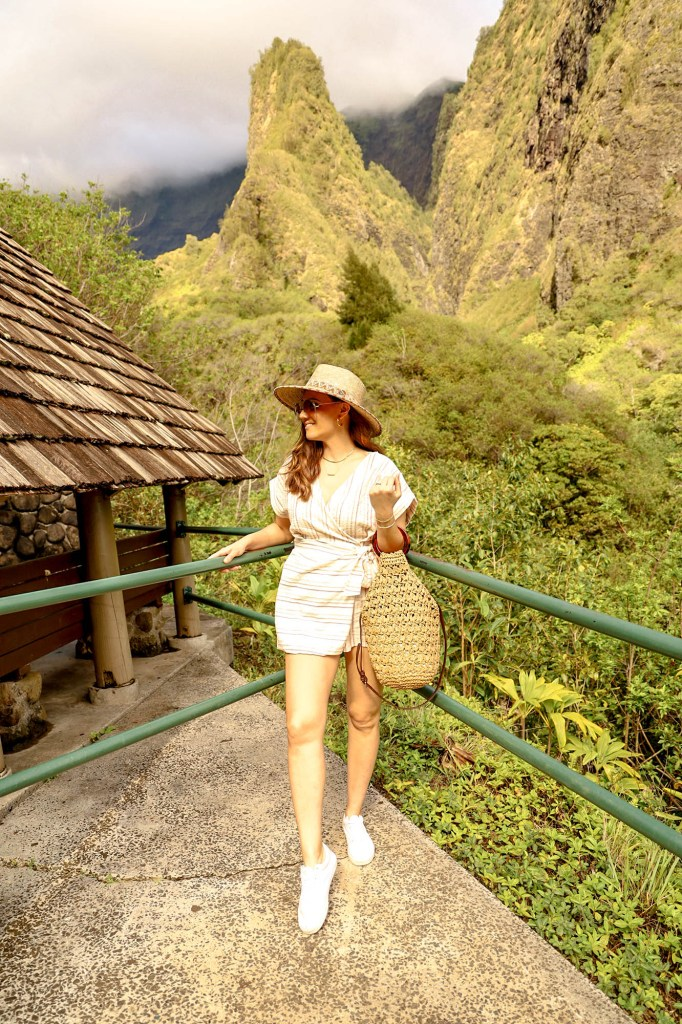 girl in front of iao needle maui