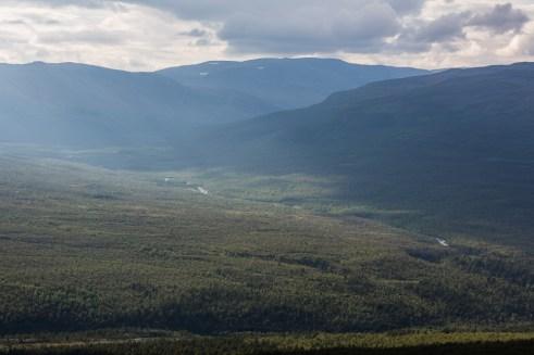 Utsikt över Anjavassdalen och Dividalen.