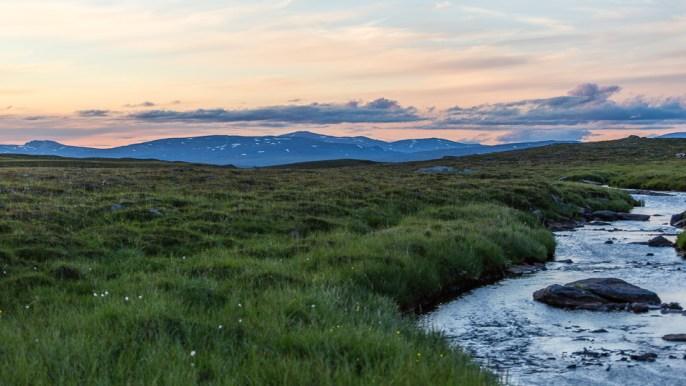 Utsikten över Boarkka och jåkken från tältplatsen.