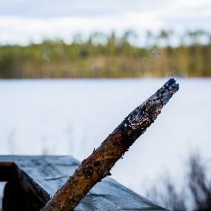 Glödande pinne vid Kråksjön