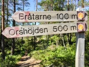 Avtagsväg mot Bråtane och Orshöjden