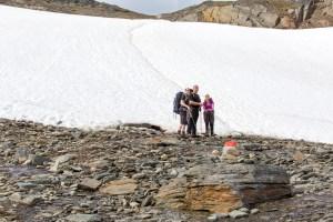 vandrare vid snöfältet