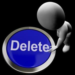 Cartoon man touching a large delete button