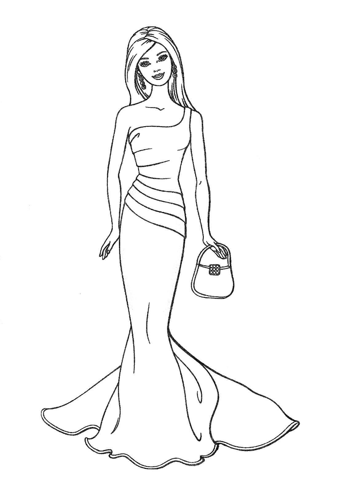 Barbie Pretty Dress Coloring Pages Free Printable Coloring