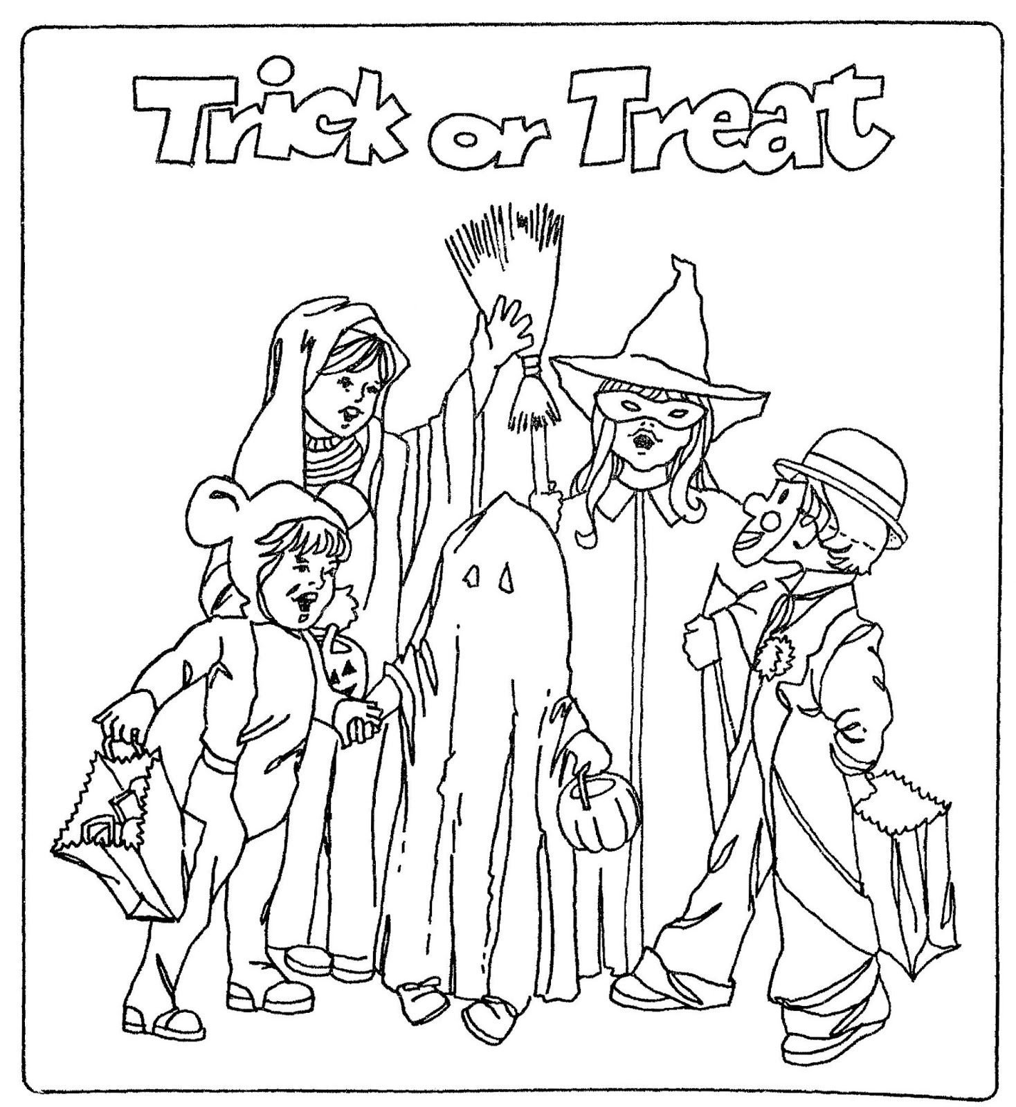 Trick Or Treat Baby Costume Halloween Coloring Pages Free