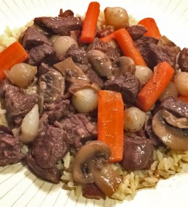 Beef Bourguignon served over rice