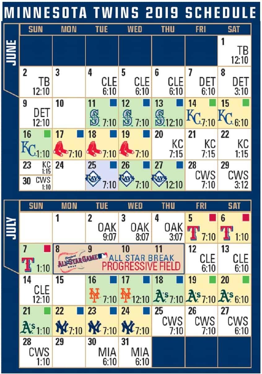 2019 MN Twins Baseball Schedule