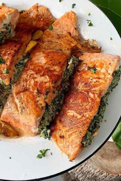 creamy stuffed salmon recipe