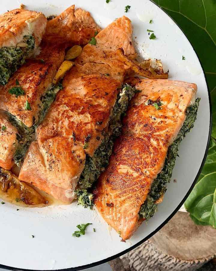 creamy stuffed salmon recipe