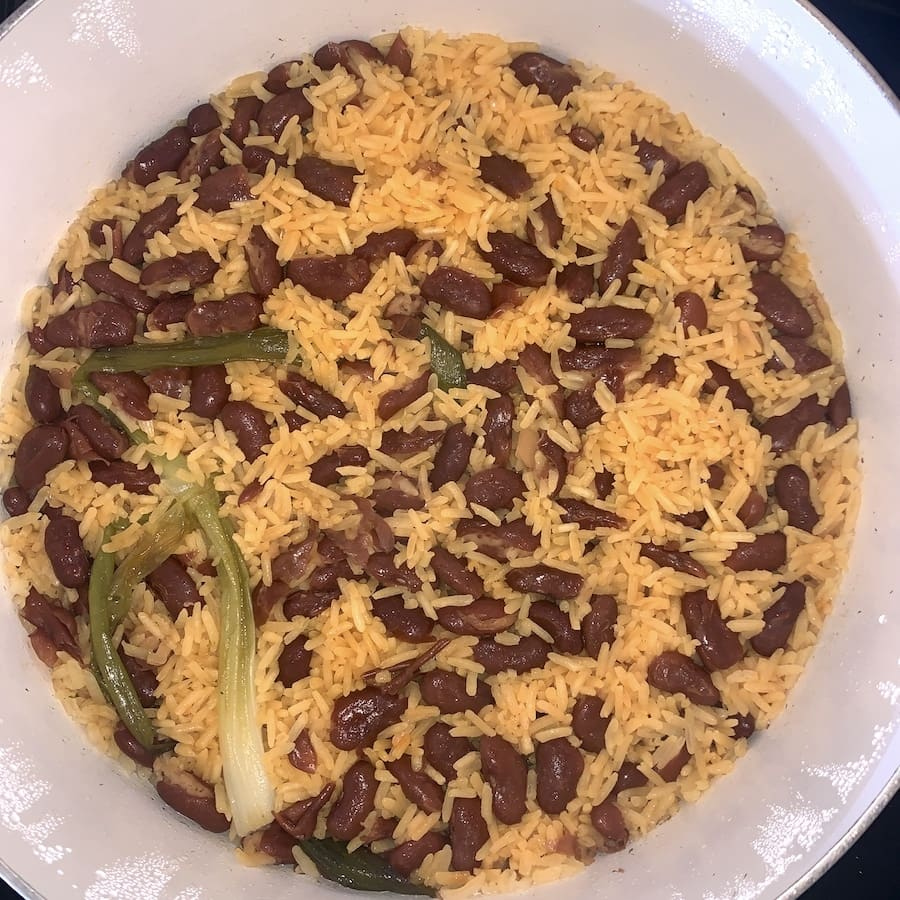 yellow rice and red bean