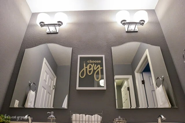 Our gray and teal guest bathroom makeover -- from boring beige to cozy modern!